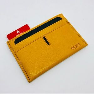 Tumi Chambers Slim RFID Leather Card Wallet Solar